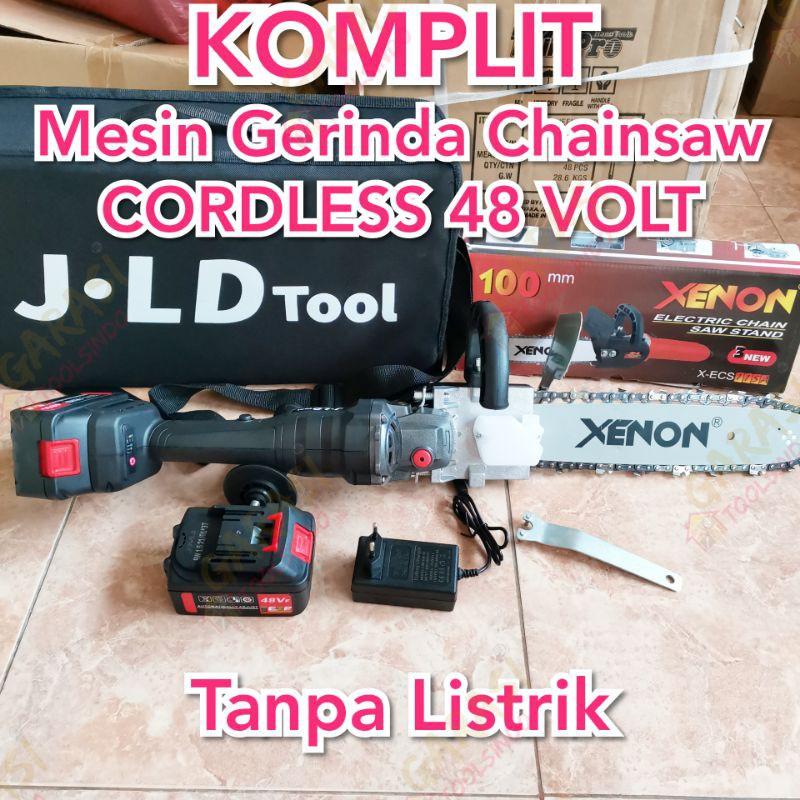 Komplit gerinda chainsaw tanpa kabel JLD cordless gerinda chainsaw gurinda chainsaw baterei baterai