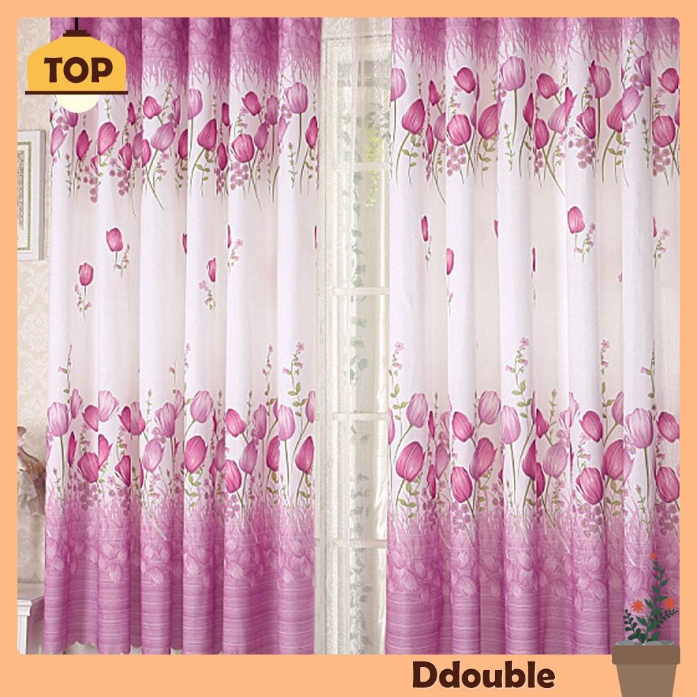 Tirai Jendela Modern Motif Bunga Tulip Warna Ungu Untuk Ruang Tamu