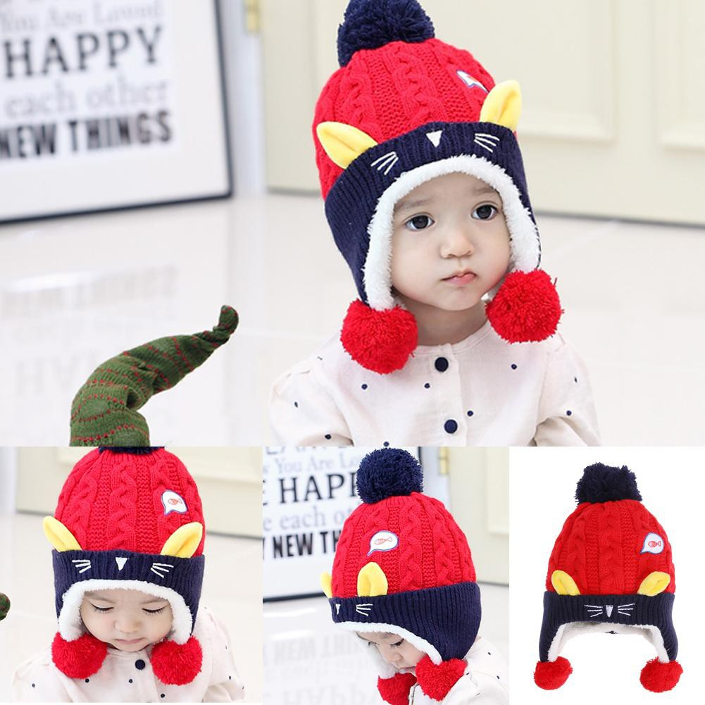 Topi Kupluk Rajut Bayi   Anak Perempuan Aksen Telinga Kelinci Warna Polos untuk  Musim Dingin  9f39498e52