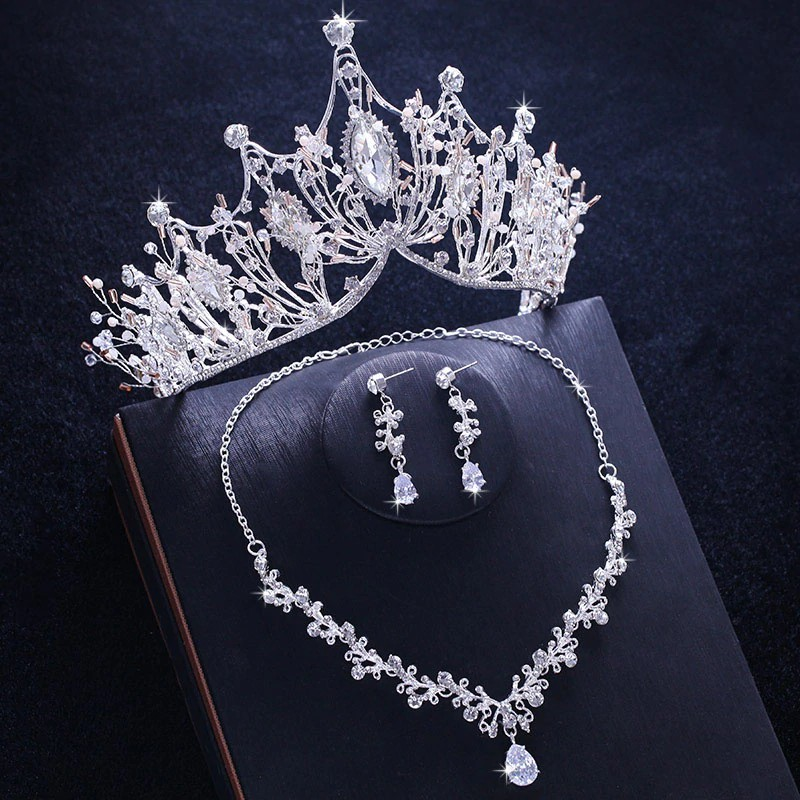 Luxury Women Wedding Jewelry Sets For Brides Crown Necklace Set Tiara Bride Accessories Bridal Shopee Indonesia