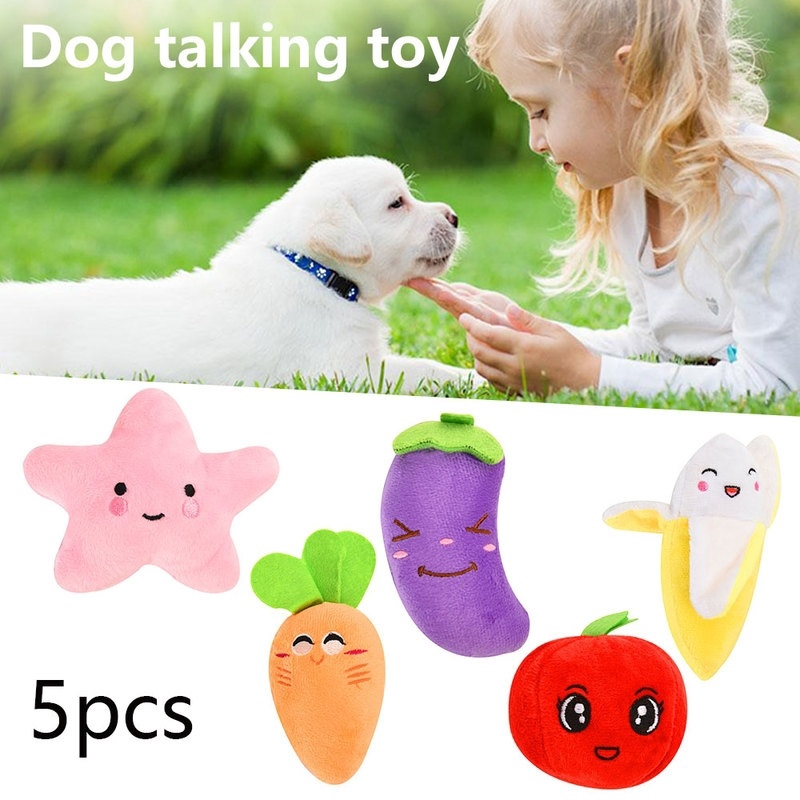 5Pcs Mainan Boneka Vokal Bentuk Pisang Bahan Plush untuk Anjing