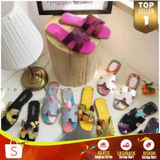 Sandal Corak Printing Wanita Murah Sendal Slop Print Fashion Cewek