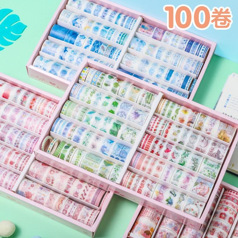 100 Roll Stiker Kertas / Selotip Washi Untuk Dekorasi Diary