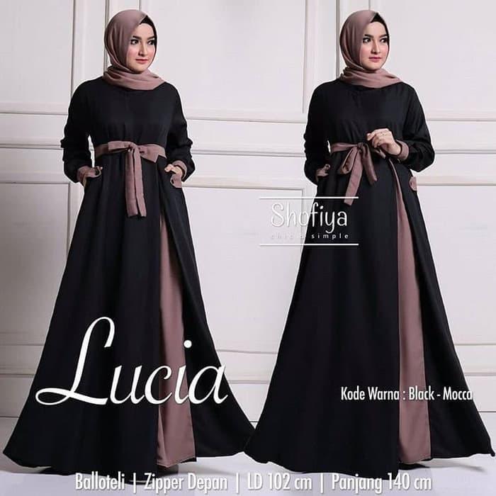 Baju Gamis Wanita Muslim Lucia Dress Polos Syari Murah Shopee Indonesia