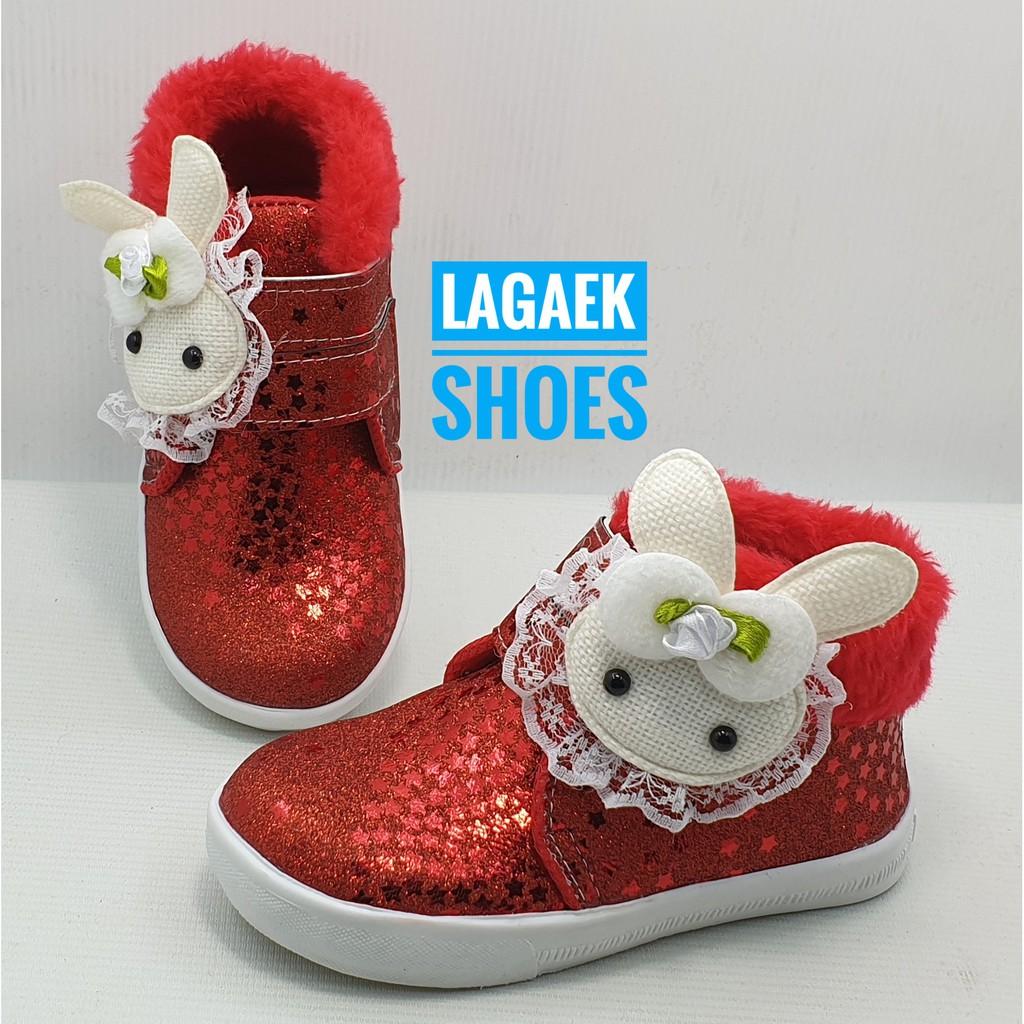 Sepatu Boots Anak Cewek Bulu Merah Usia 1 2 3 4 Tahun ...