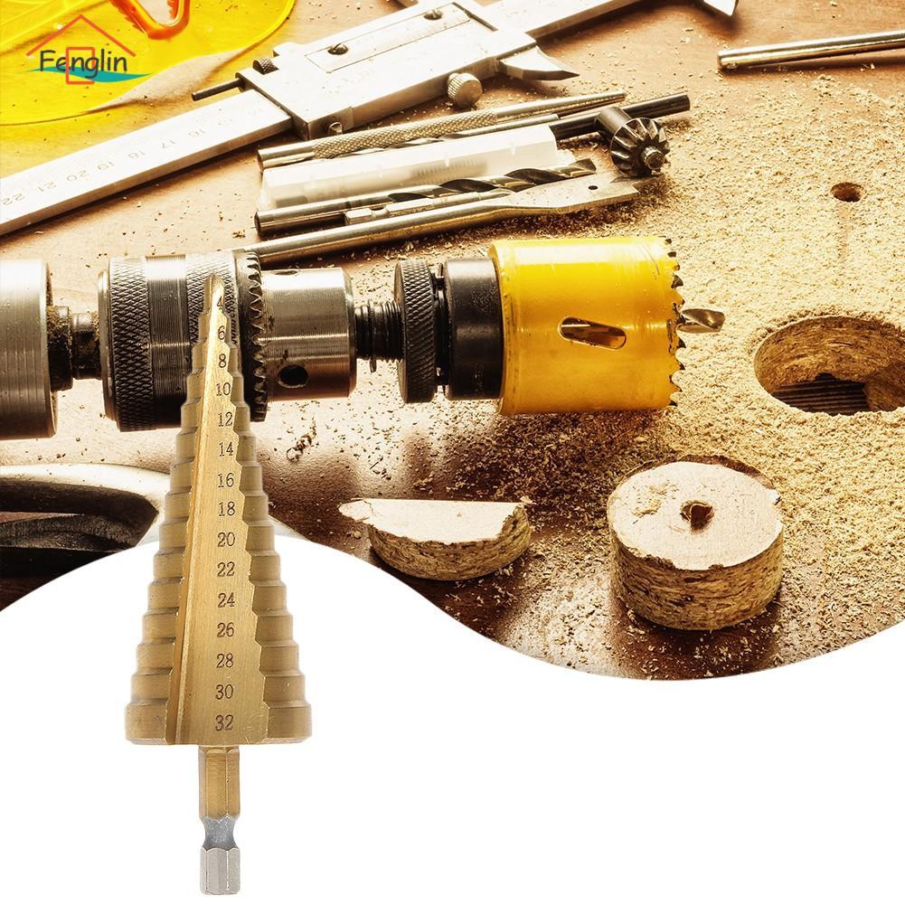 Titanium HSS 15-Step Drill 4-32MM Hex Shank 1//4 Hole Cutter For Sheet Metal
