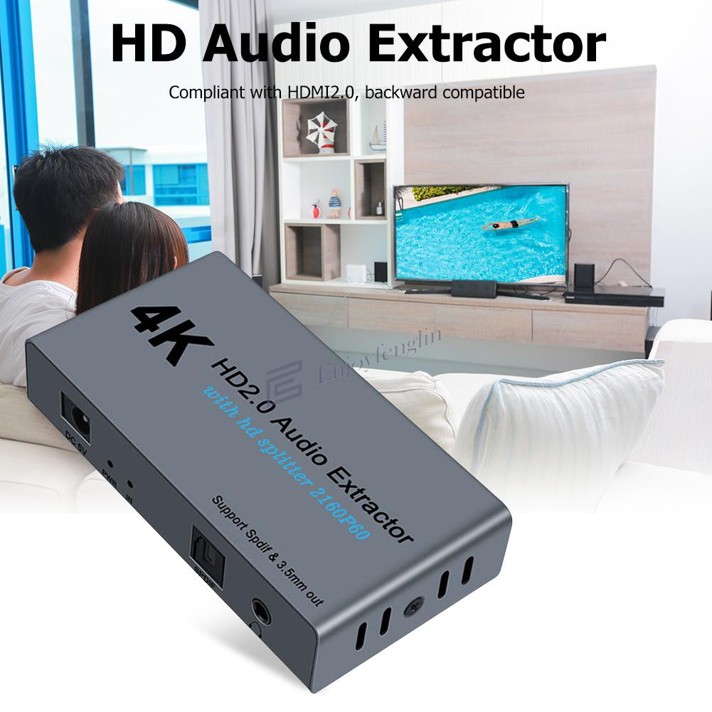 E12A 4K HDMI 2.0 Splitter 1 In 2 Out with SPDIF 3.5mm Audio Extractor