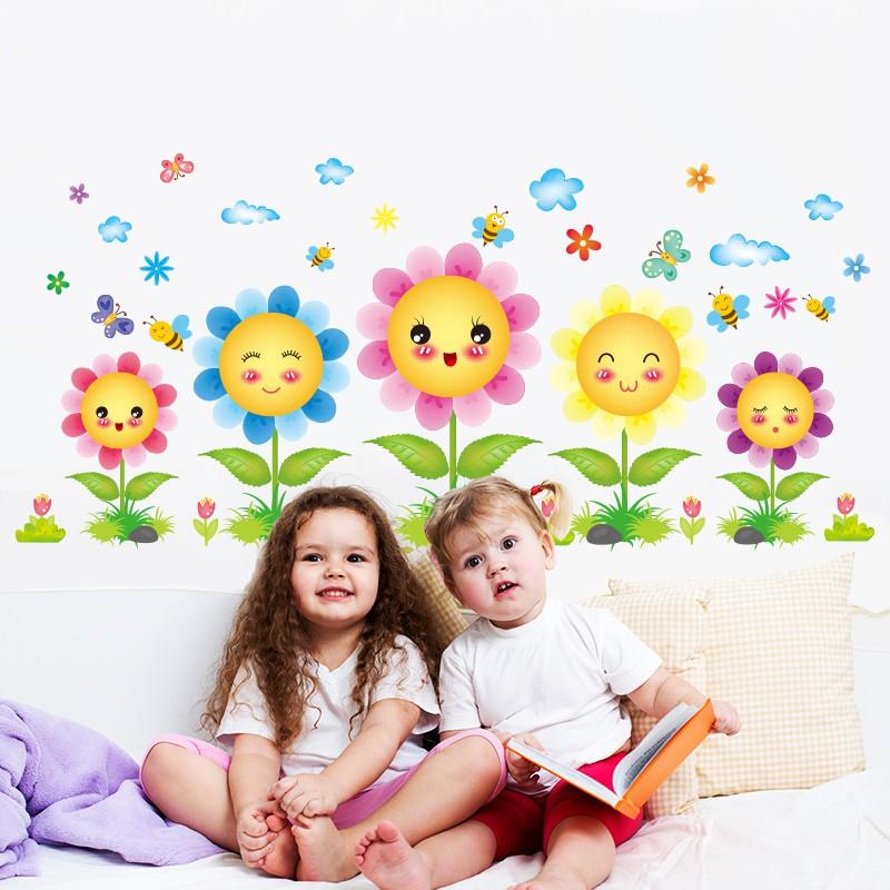 Stiker Dinding Stiker Hiasan Dinding Kamar Anak Anak Tk Kelas Sekolah Tata Letak Tersenyum Bunga Matahari Bunga Matahari Shopee Indonesia