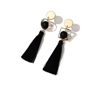 ... LRC Anting Gantung Fashion Black Round Shape Pendant Decorated. Source · 【DDFI】 Korea Retro long Model Panjang earrings Anting | Shopee Indonesia