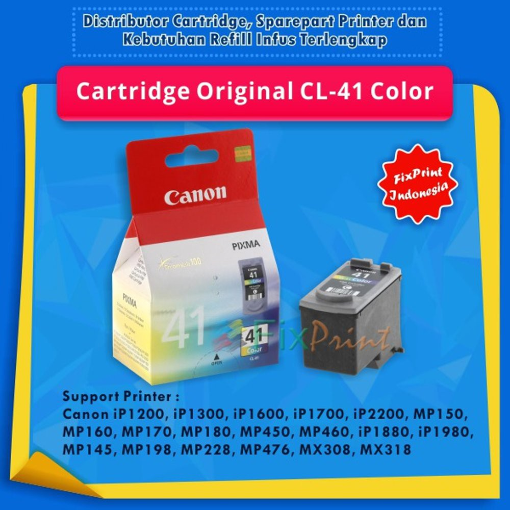 Cartridge Original Canon Cl 41 Cl41 Color Tinta Printer Colour Ip1200 Ip1300 Ip1600 Ip1700 Ip2200 Shopee Indonesia