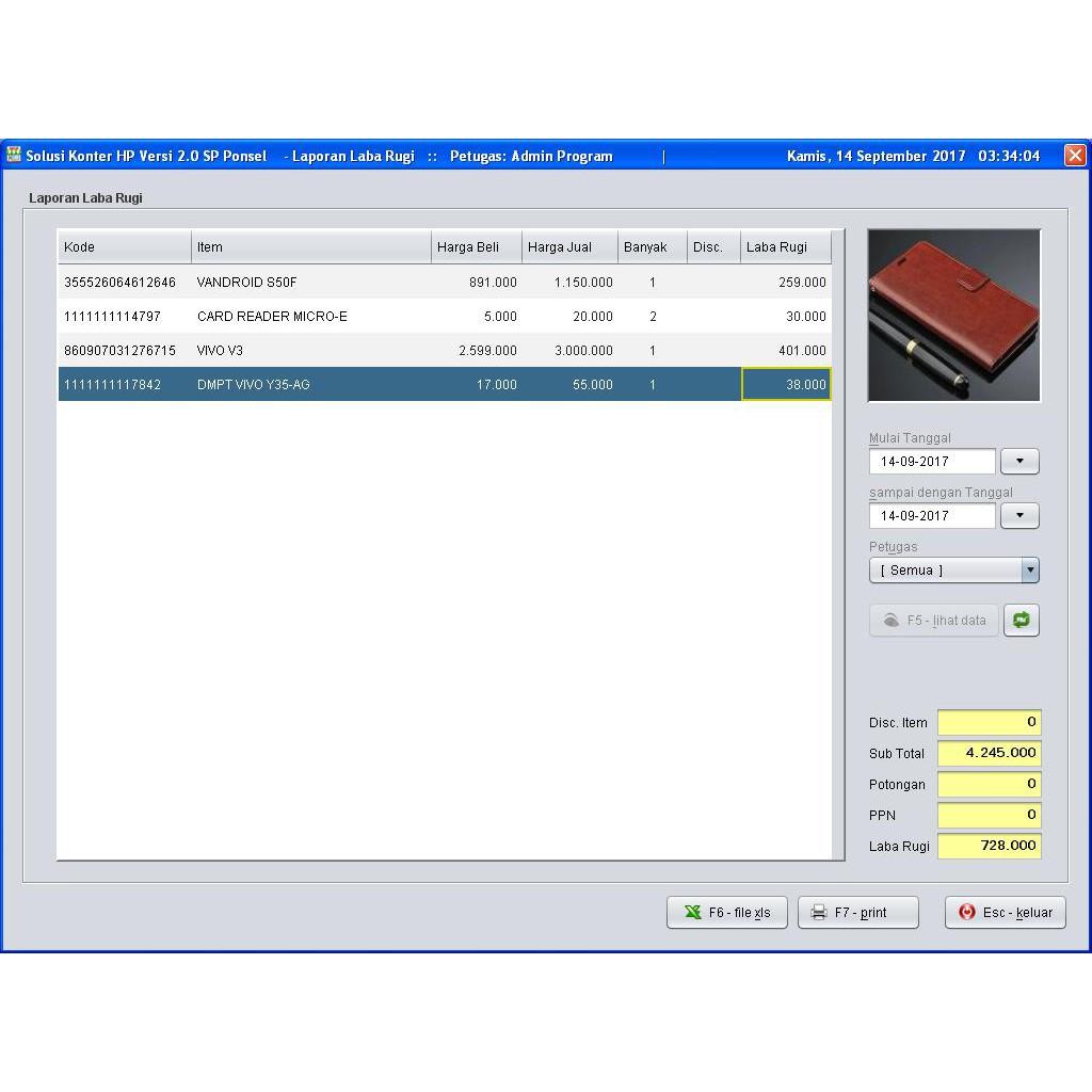 Paket Kasir Printer Scanner Ep1020m Aplikasi Konter Hp 20