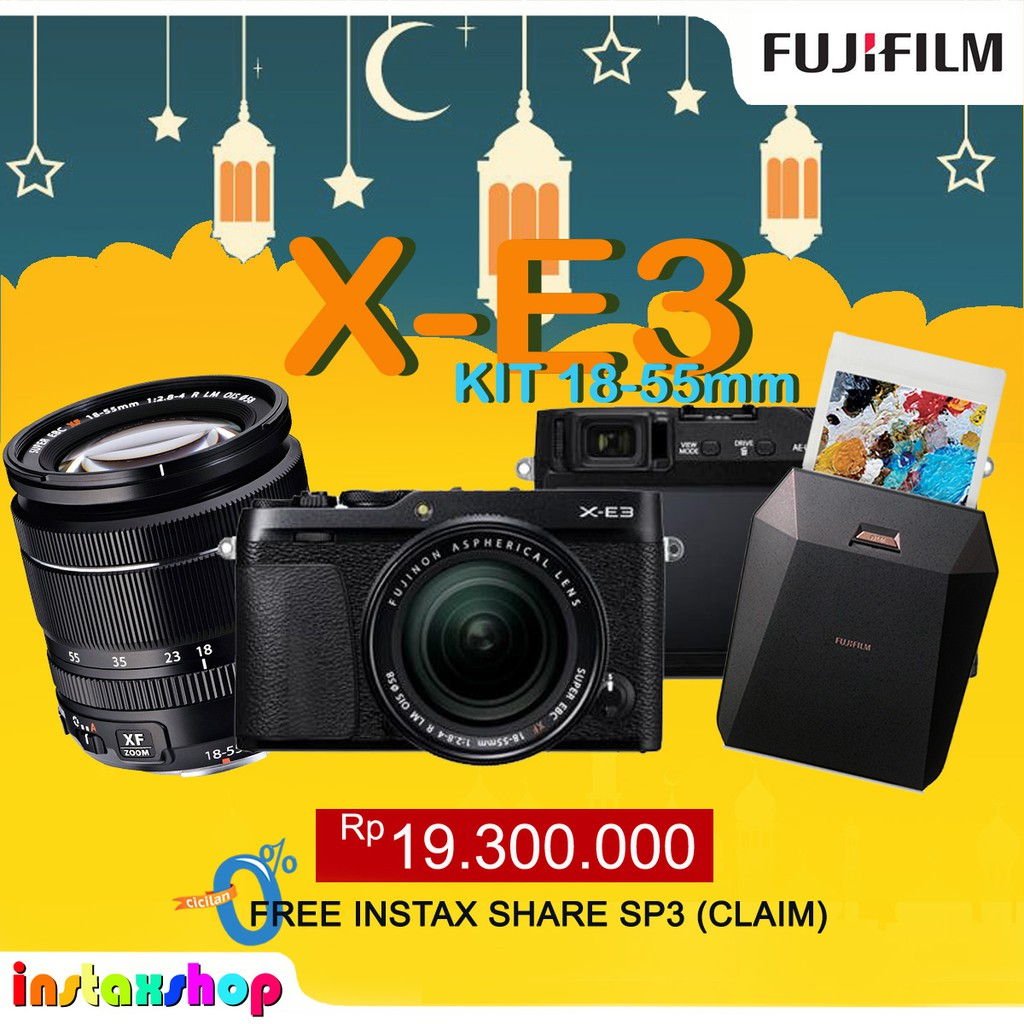 Fujifilm Xt 20 Mirrorless Camera With Kit Xc 18 55mm Hitam Instax X A5 15 45mm F35 56 Ois Pz Dark Silver Pwp Xf 50mm F2 Xt20