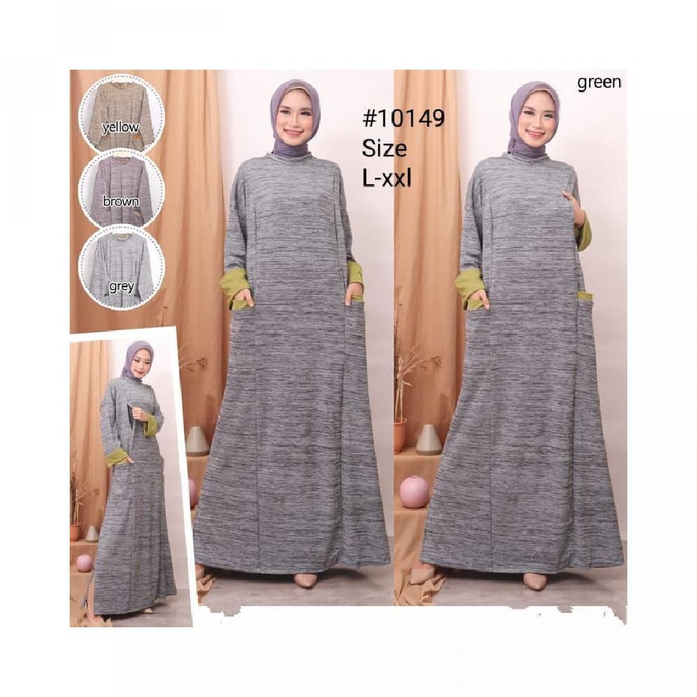 Baju muslim gamis wanita gamis busui formal Baju gamis kaos import - Hijau