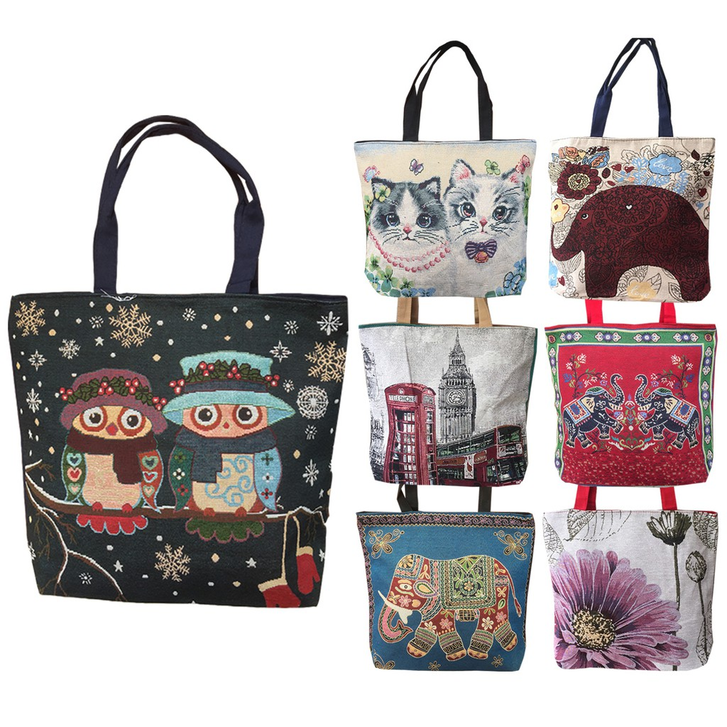 654ef92871 Tas Korea Big Printed Canvas Tote Bag   Tas Kanvas Motif Original ...