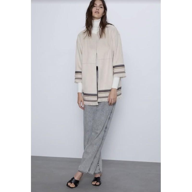 Zara Beige Frill Long Coat Kimono Preloved