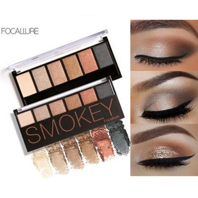🌹Focallure✨6 Colors Eyeshadow Palette Glamorous Smokey Shimmer Colors Makeup Kit Eye makeup