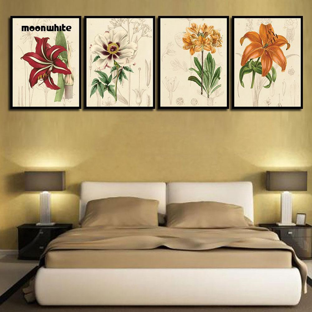 Lukisan Kanvas Desain Bunga Warna-Warni Gaya Vintage untuk Dekorasi Kamar  Tidur