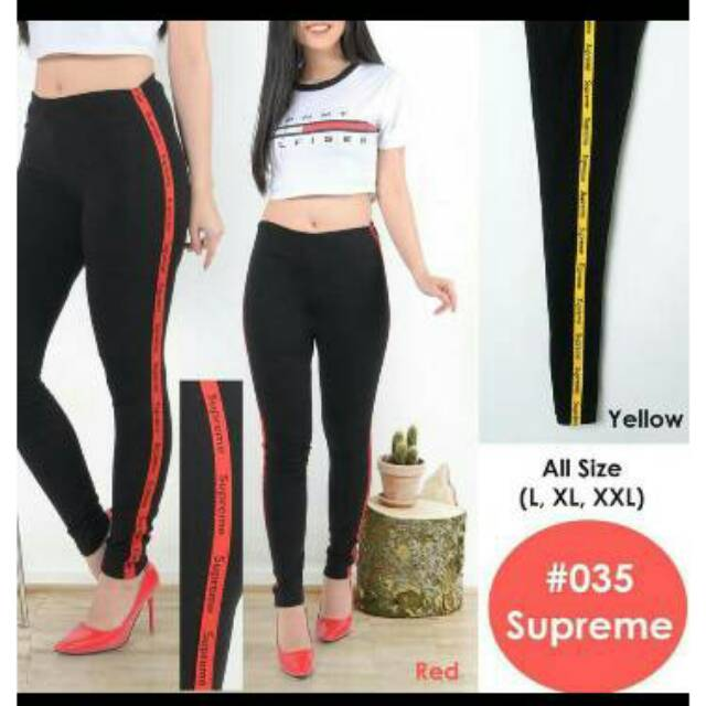 Celana Legging Stretch Supreme List Hitam Bagus Murah Kekinian Shopee Indonesia
