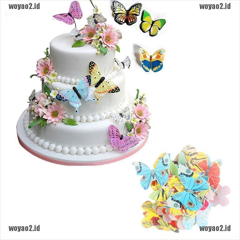 Wo 42pcs Mixed Butterfly Edible Glutinous Wafer Rice Paper Cake Cupcake Toppers Id Shopee Indonesia