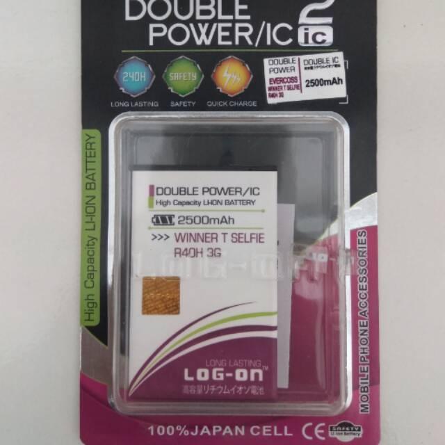 Batre Dobel Power Evercoss A74B/Elevate X Baterai/Battery Log On Double Power/2 IC | Shopee Indonesia