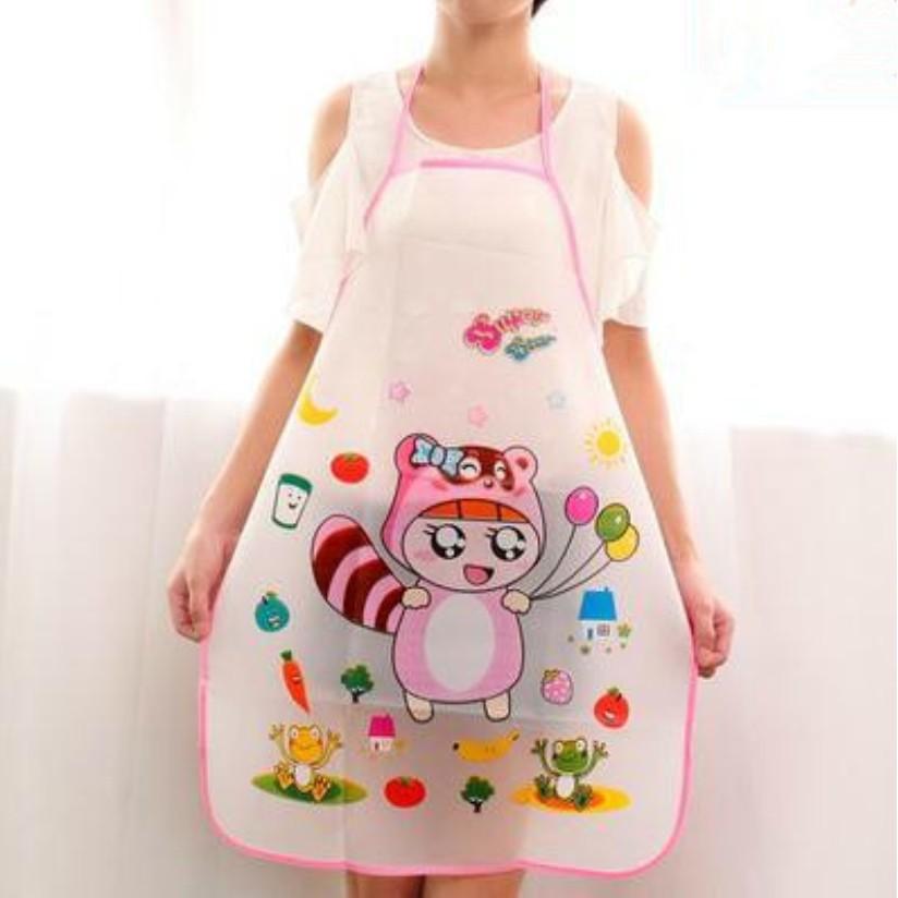 Kitchen Household Cleaning Apron Cartoon Smile Face Waterproof Sleeveless Bib