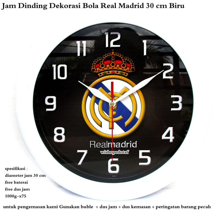 Jam Dinding Real Madrid   Jam Dinding Madrid   Jam Dinding Club Bola Real  Madrid  0e78aac251