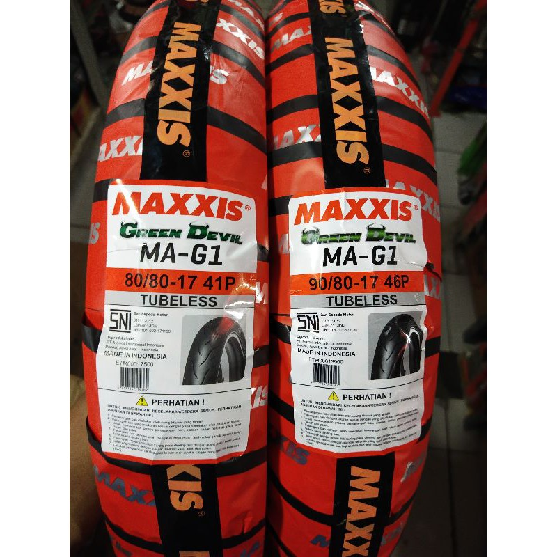 Paket ban tubeless maxxis green devil (soft compound) 80/80 17 & 90/80 17 free pentil