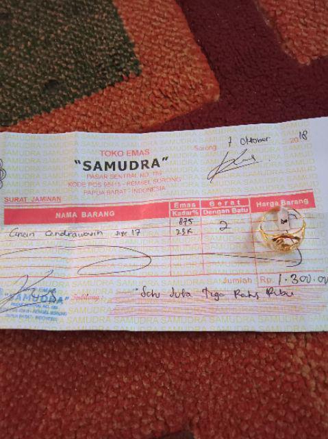 Cincin Emas Asli Khas Papua Cendrawasih Kadar 875 Original Handmade