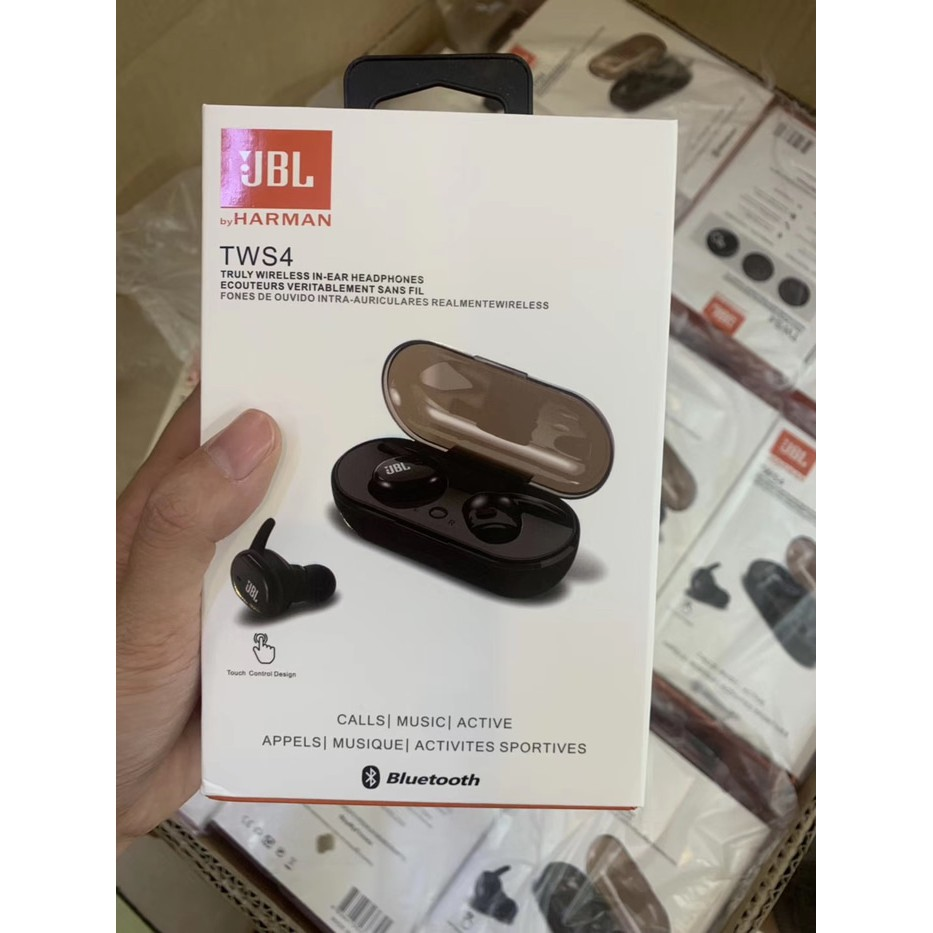 Headset Bluetooth Jbl Tws 4 Wireless Earphone Bluetooth Isi 2 Kiri Kanan Shopee Indonesia