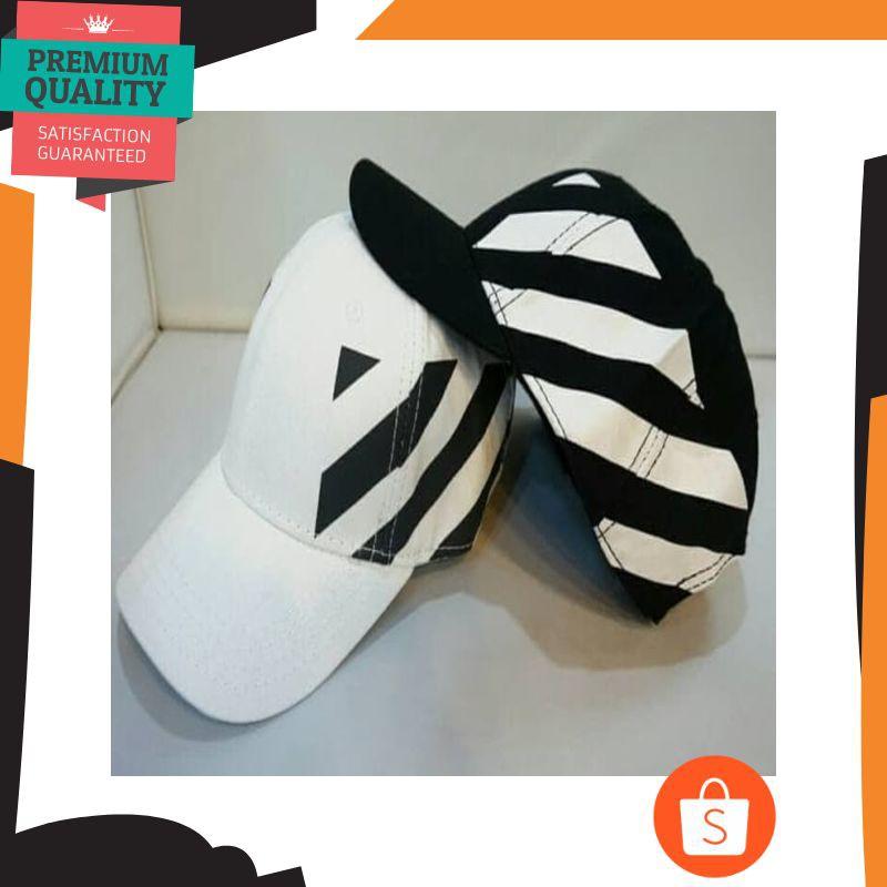f36125577649 Mantul topi OFF WHITE c o Virgil abloh black striped panel ( UNISEX ) -  Putih Elegan