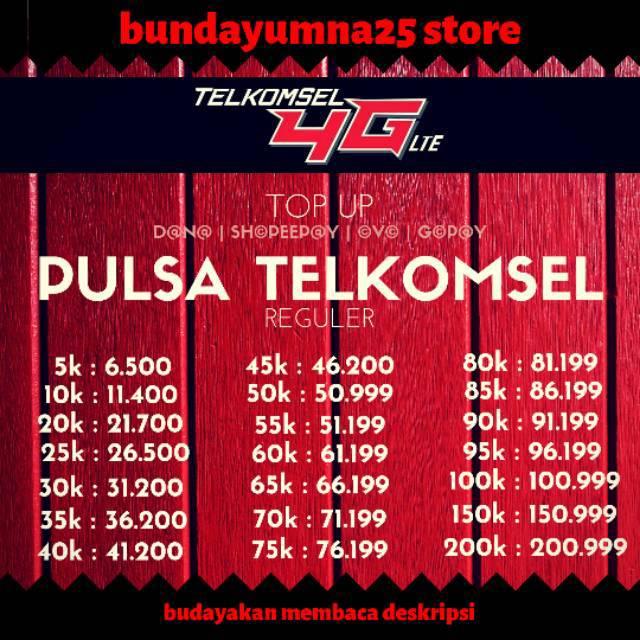 Promo Pulsa Telkomsel Reguler Elektrik 5k 10k 20k 25k 40k Murah 5rb 10rb 20rb 25rb 30rb 35rb 40rb Shopee Indonesia