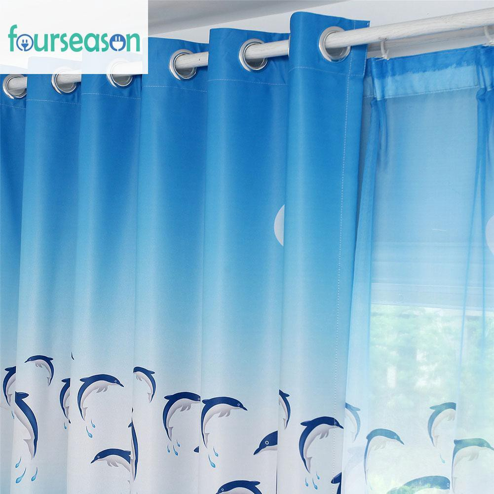 Ready Cartoon Dolphins Blackout Shade Curtain Window Blinds Drapes Shopee Indonesia
