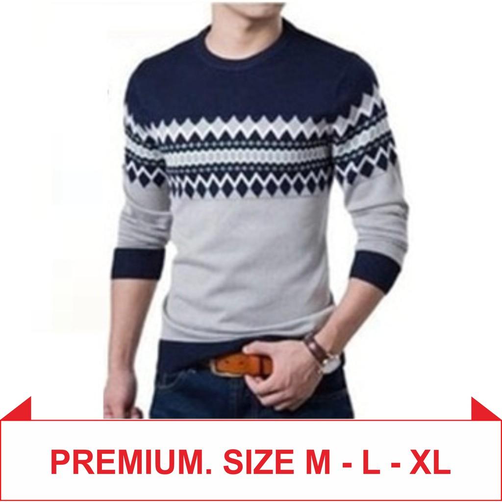Sweater Azuma Navy Shopee Indonesia Rajut Pria