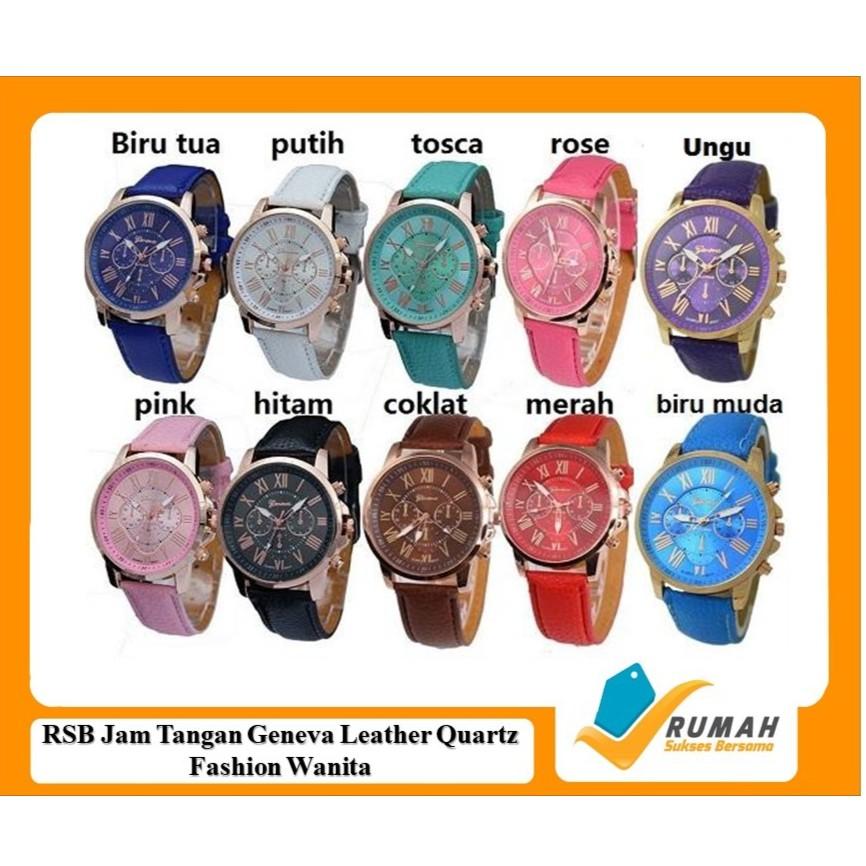 Fashion Wanita: Geneva Jam Tangan Chronograph Analog Quartz Bahan Strap Kulit Motif Kayu | Shopee Indonesia