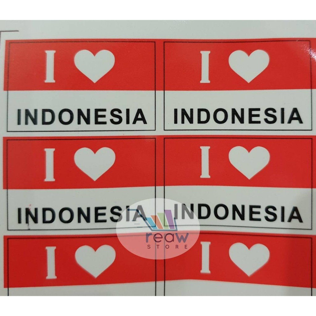 Sticker Stiker Pipi Muka Tangan Bendera Merah Putih I Love Indonesia Shopee Indonesia