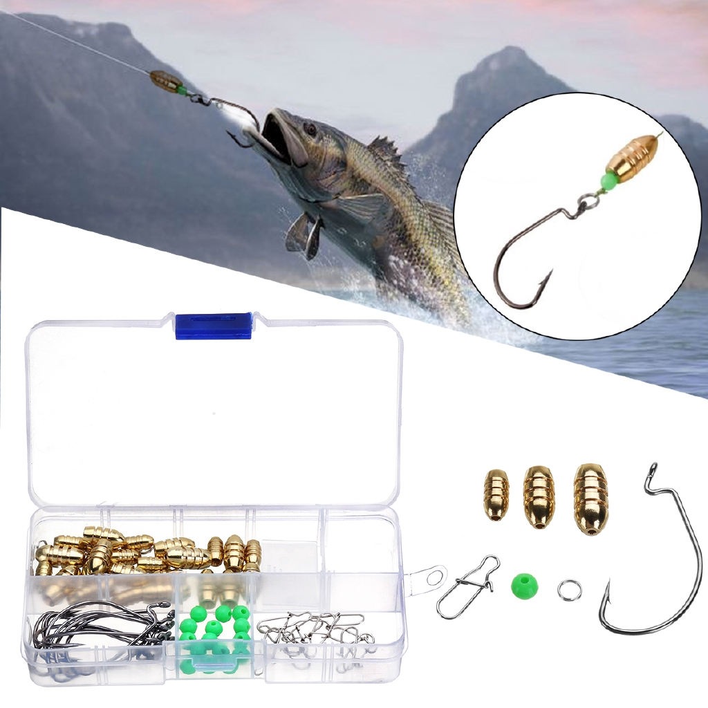 Fishing Sinkers Set Hook Brass Sinker Weights Jig Connector Swivel Ring with Box