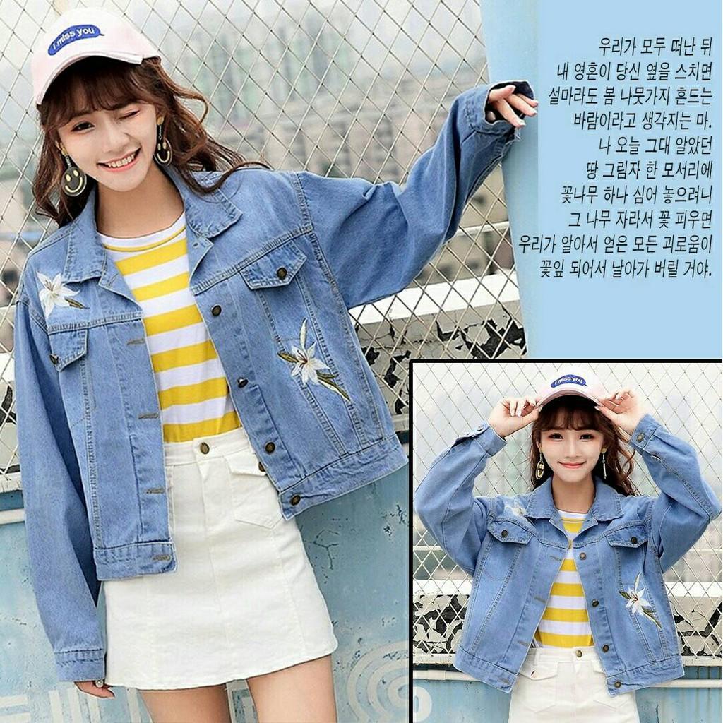 Jaket Jeans Wanita Lily Oversize Xxl Bordir Denim Washed Warna Jumbo Big Size Shopee Indonesia