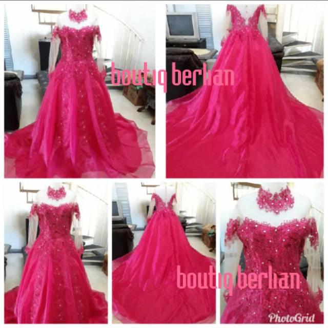 Gaun Pengantin Pink Fanta Ekor Gown Bridal Baju Pengantin Shopee