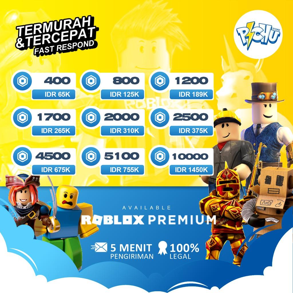 Roblox Robux  400 - 10000 ROBUX VIA LOGIN TERMURAH LEGAL AMAN 100%