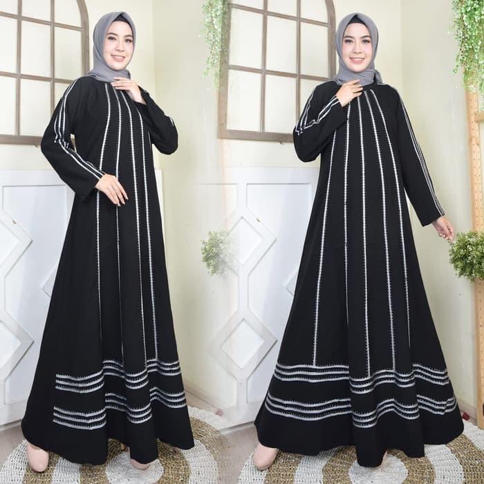 Sale Baju Gamis Arab Abaya Dubai Modern Muslim Wanita Hitam M Shopee Indonesia