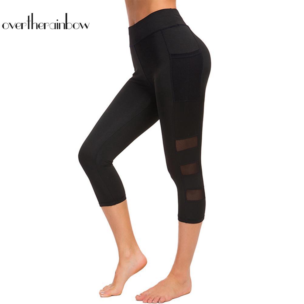 Celana Legging Panjang Wanita 3 4 Bahan Mesh Untuk Yoga Lari Shopee Indonesia