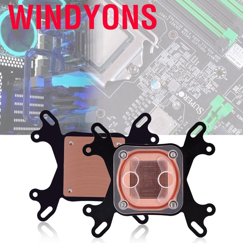 PC Computer LED CPU Water Cooling Block 50mm Transparent Cooler For Intel