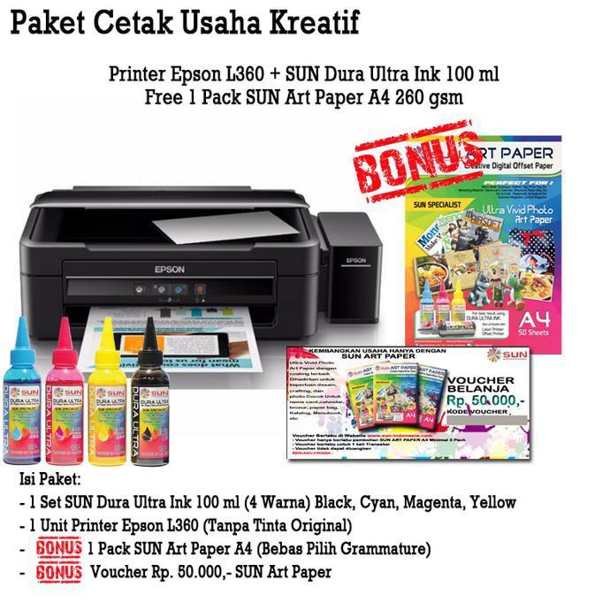 PROMO Printer Epson L360 SUN Dura Ultra Art Paper Ink BONUS Art Paper A4  260 Best Seller