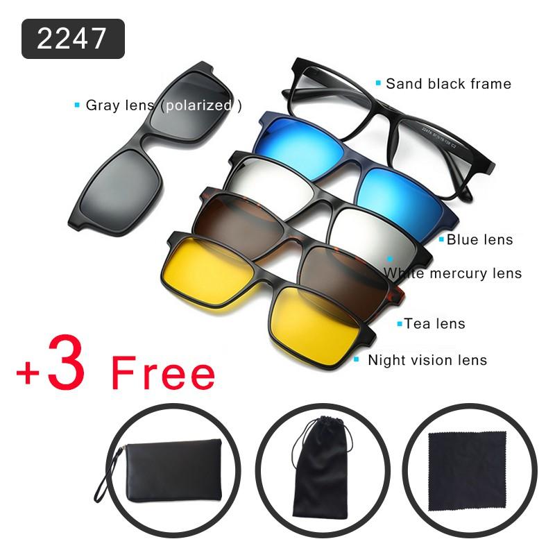 Kacamata Hitam 6 in 1 TR90 Magnetik dengan Lensa Polarized Sunglass Male  Female With 5 Clip Fashion  7a004867bb