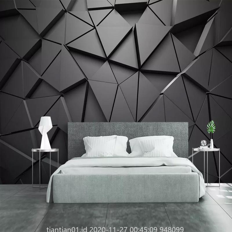 Modern Creative 3d Geometric Abstract Gray Triangle Large Mural Wallpaper Living Room Tv Wall Home Decwall Cloth Fresco Shopee Indonesia