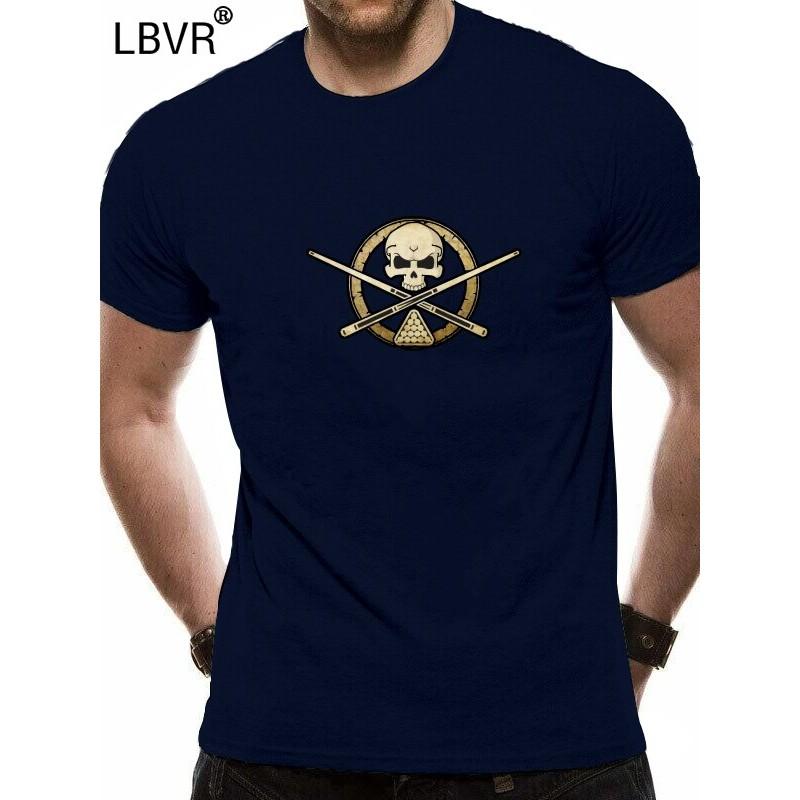 Billiards crossbones t-shirt rack/'em up shirt pool shark skull badge tee shirt