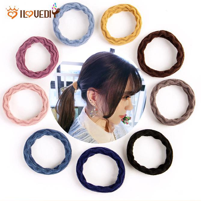5Pcs Ikat Rambut Elastis Gaya Korea Bahan Karet Seamless untuk Wanita thumbnail