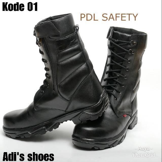 Sepatu boot pdl tinggi kulit asli pria cowok kerja militer army tni polri  outdoor kickers safety  fca22b9104