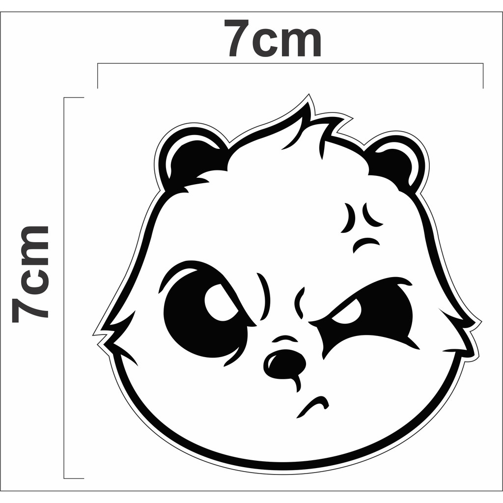 Sticker Cutting Kepala Panda Galak