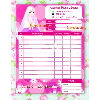 Nota Kwitansi Invoice Full Color Muslim Jilbab Beauty Make Up Lotion 1 Ply